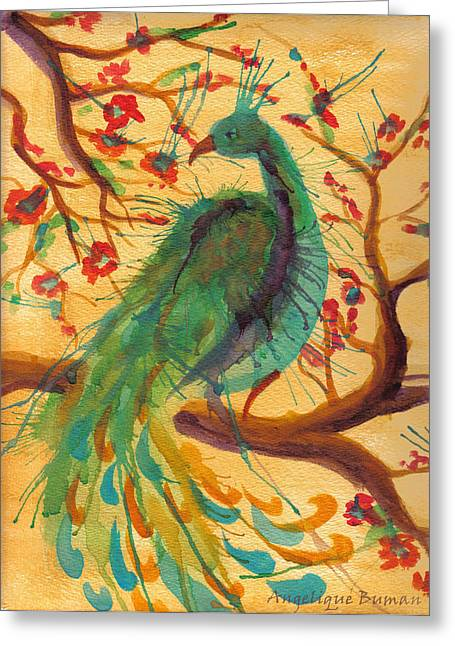 Greeting Card featuring the painting Peacock C'hi by Angelique Bowman