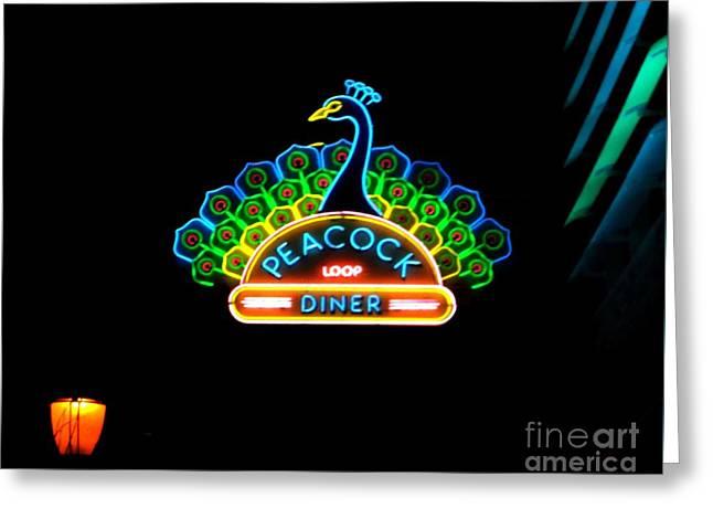 Peacock Diner In The Loop Greeting Card