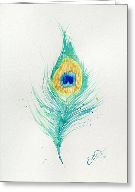 Peacock Feather 2 Greeting Card by Oddball Art Co by Lizzy Love