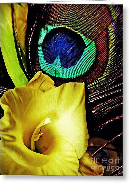 Peacock Feather And Gladiola Greeting Card by Sarah Loft