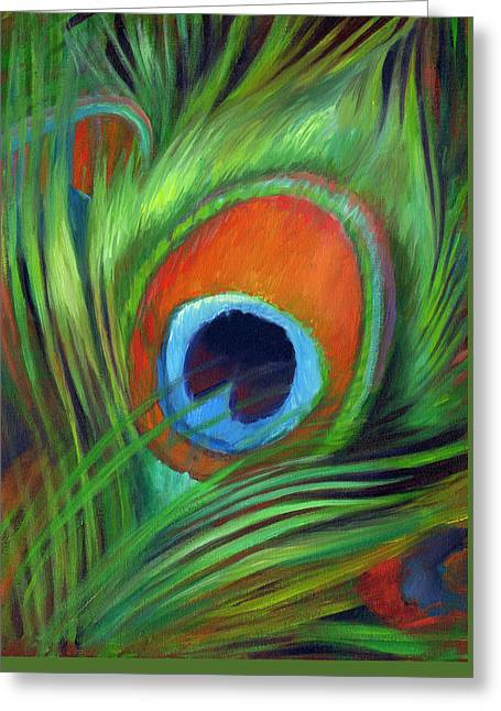 Peacock Feather Greeting Card by Nancy Tilles