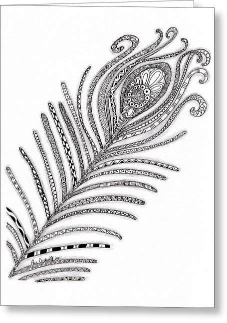 Paula Dickerhoff Greeting Cards - Peacock Feather Greeting Card by Paula Dickerhoff