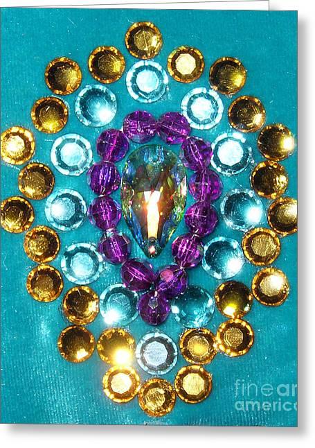 Peacock Feather - Rhinestone Mosaic Greeting Card