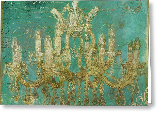 Peacock Gold Chandelier Greeting Card by Mindy Sommers