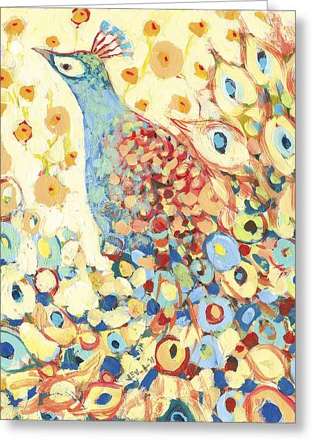 Nature Abstracts Greeting Cards - Peacock Hiding in My Poppy Garden Greeting Card by Jennifer Lommers
