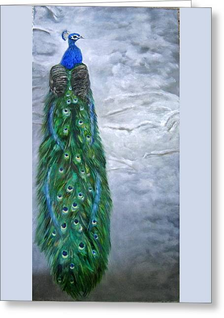 Peacock In Winter Greeting Card