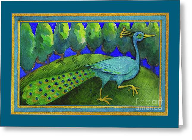 Greeting Card featuring the painting Peacock  by Lora Serra