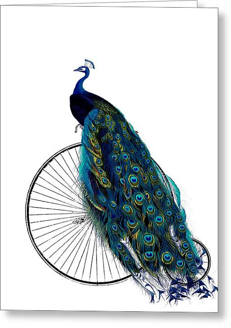 Peacock On A Bicycle, Home Decor Greeting Card
