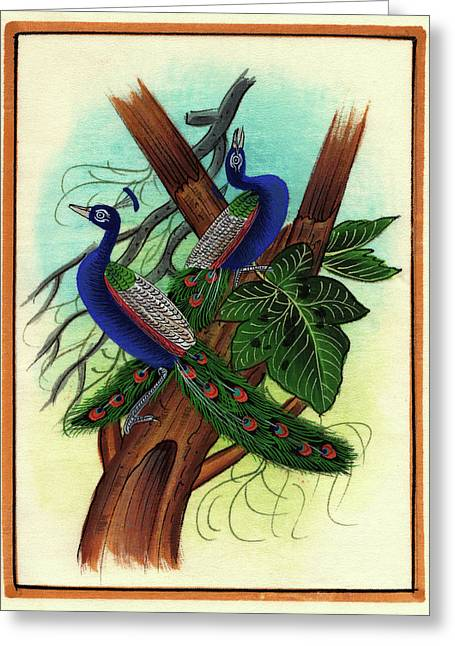 Peacock Painting Tree Forest Miniature Painting Artist Nature Paper Artwork India. Greeting Card by M B Sharma