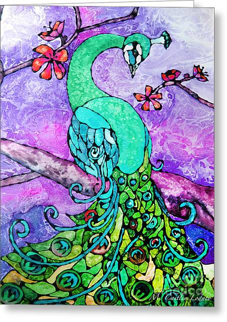 Peacock Stained Glass Watercolor Greeting Card by Caitlin Lodato