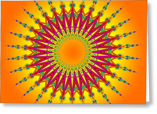 Peacock Sun Mandala Fractal Greeting Card