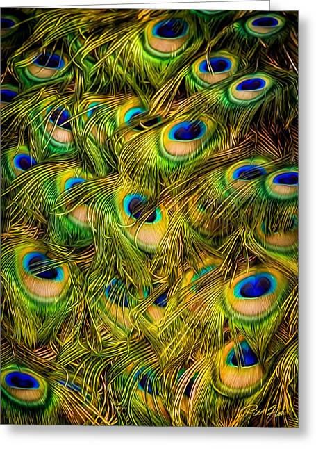 Greeting Card featuring the photograph Peacock Tails by Rikk Flohr