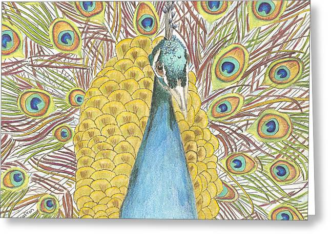 Greeting Card featuring the drawing Peacock Two by Arlene Crafton
