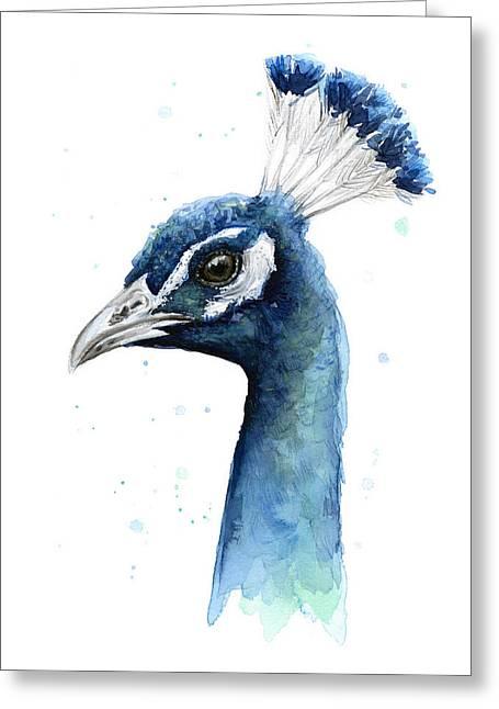 Peacock Watercolor Greeting Card by Olga Shvartsur