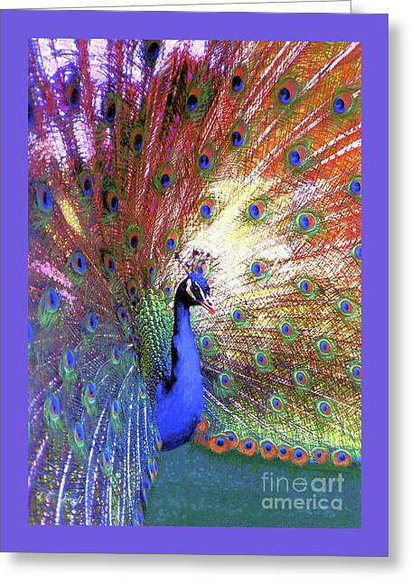 Greeting Card featuring the painting Peacock Wonder, Colorful Art by Jane Small