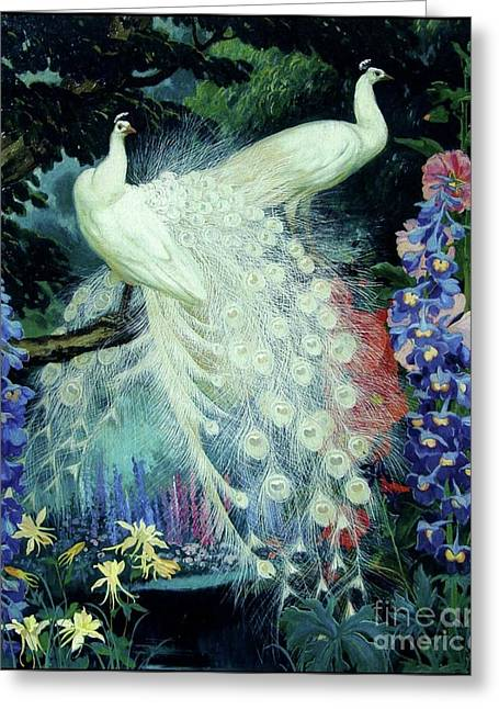 Peacocks And Hollyhocks Greeting Card by Pg Reproductions