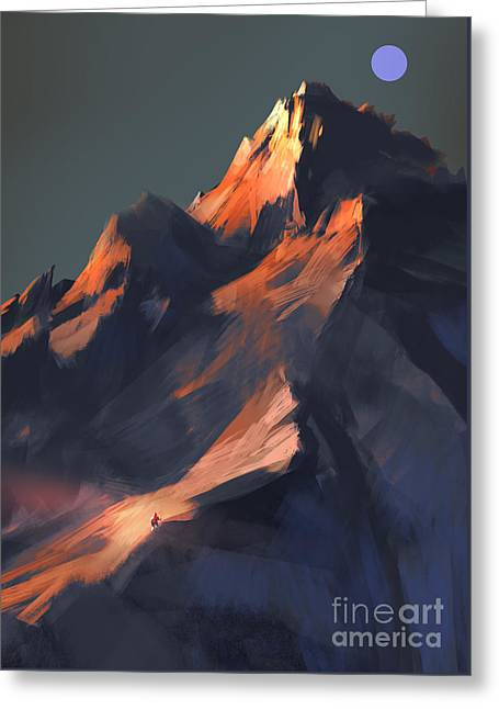 Greeting Card featuring the painting Peak by Tithi Luadthong