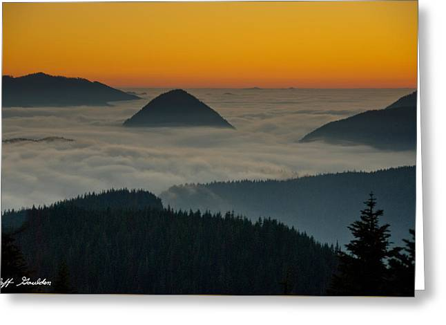 Peaks Above The Fog At Sunset Greeting Card
