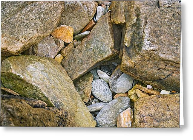 Peaks Island Rock Abstract Photo Greeting Card by Peter J Sucy