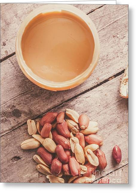 Peanut Butter Jar With Peanuts On Wooden Surface Greeting Card