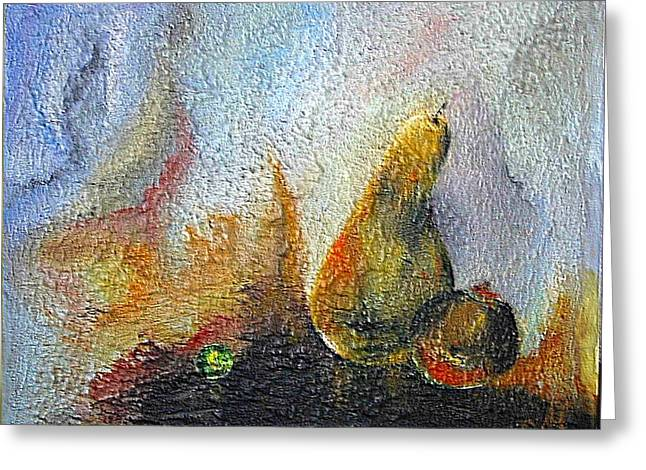Greeting Card featuring the mixed media Pear And Pearl by Dragica  Micki Fortuna