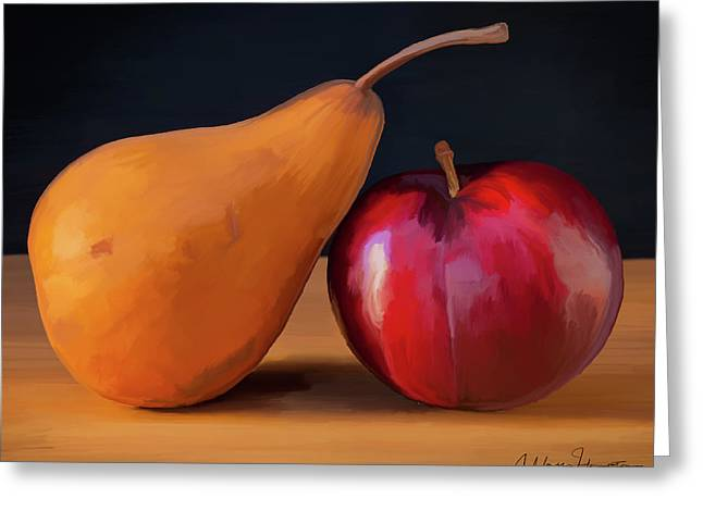 Pear And Plum 01 Greeting Card by Wally Hampton