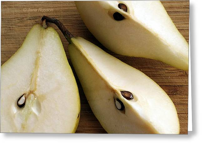 Pear Cut In Three Greeting Card