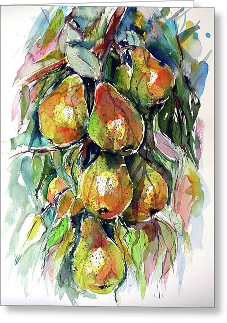 Greeting Card featuring the painting Pear by Kovacs Anna Brigitta