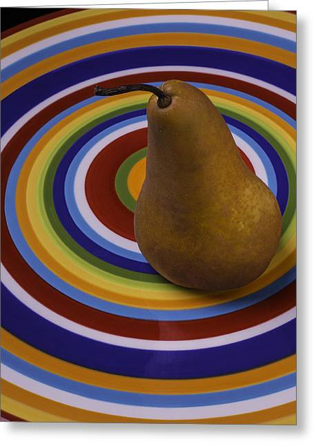 Pear On Circle Plate Greeting Card