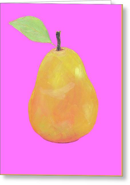 Pear Painting On Pink Background Greeting Card by Jan Matson
