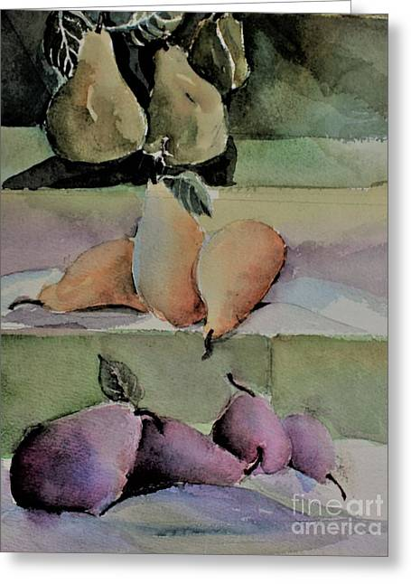 Pear Pyramid Greeting Card by Mindy Newman
