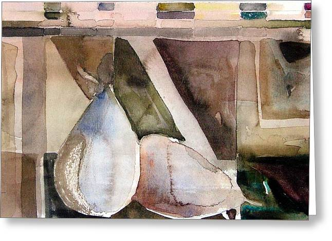 Pear Study In Watercolor Greeting Card by Mindy Newman