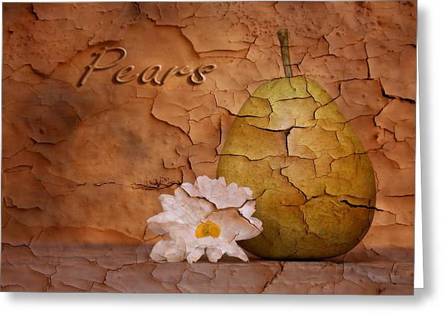 Pear With Daisy Greeting Card by Tom Mc Nemar