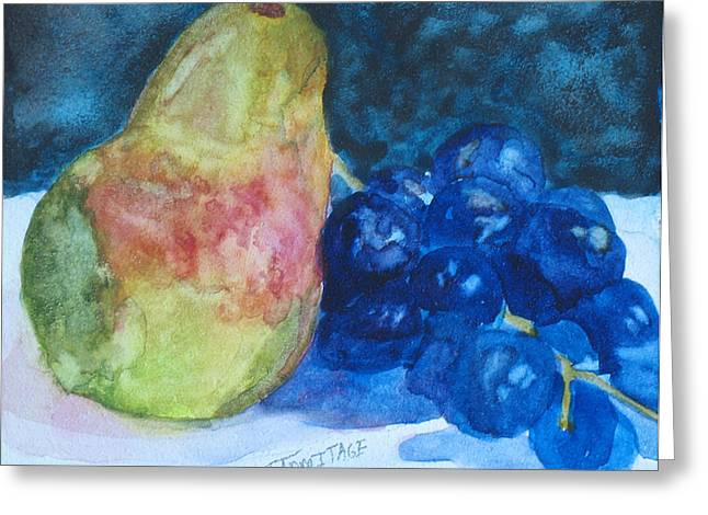 Pearcial To Grapes Greeting Card