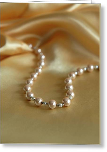 Pearls And Gold Greeting Card