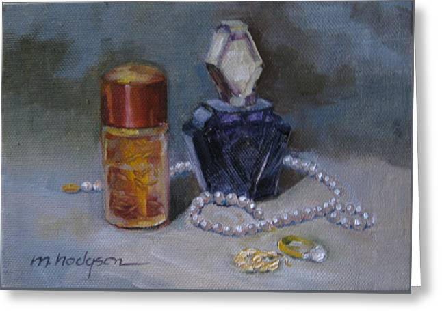 Pearls And Perfumes Greeting Card by Margaret Hodgson