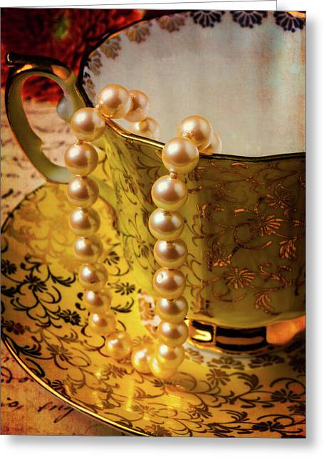 Pearls Hanging Off Tea Cup Greeting Card