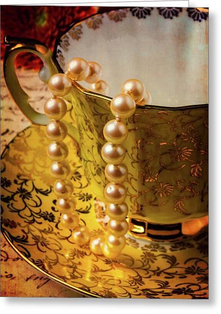 Pearls Handing Off Tea Cup Greeting Card by Garry Gay