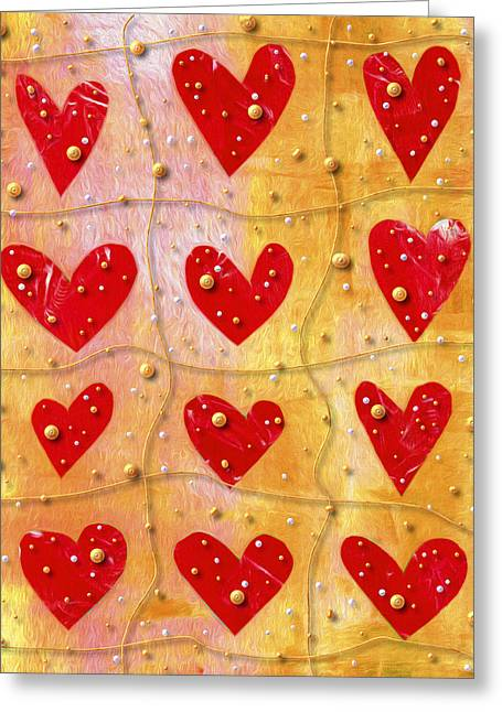 Pearly Hearts Valentine Greeting Card by Carol Leigh