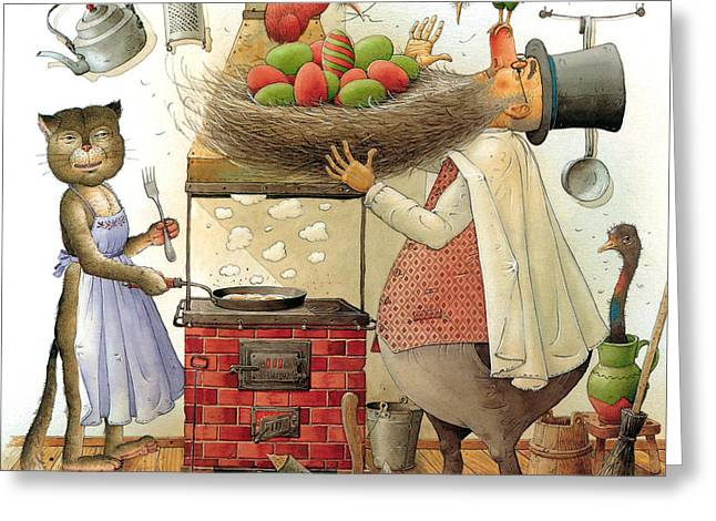 Pearman And Cat Greeting Card by Kestutis Kasparavicius