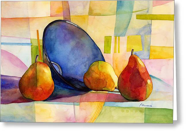 Pears And Blue Bowl Greeting Card by Hailey E Herrera