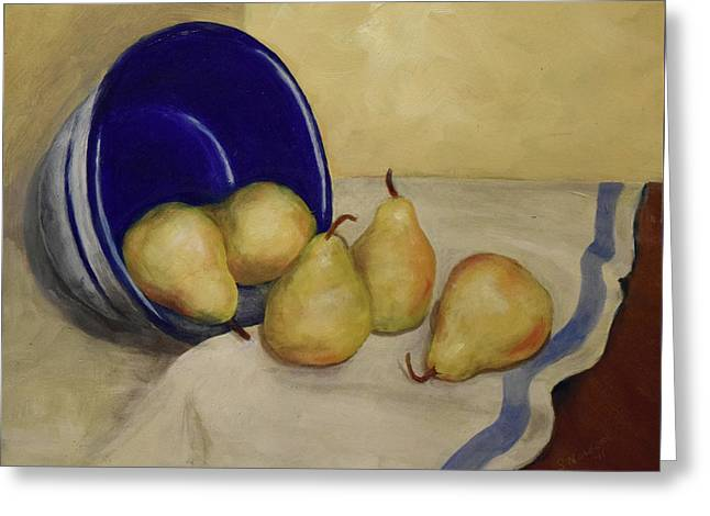 Pears And Blue Bowl Greeting Card