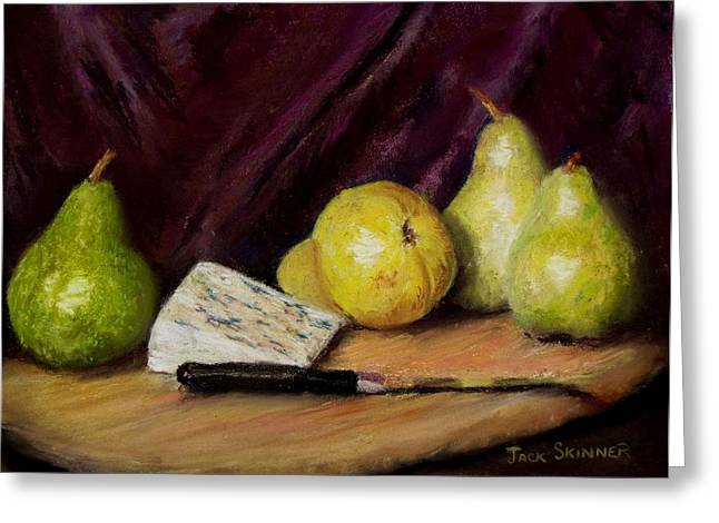Cheeses Pastels Greeting Cards - Pears and Cheese Greeting Card by Jack Skinner
