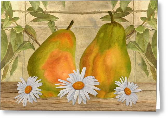 Pears And Daisies Greeting Card