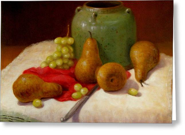 Greeting Card featuring the painting Pears And Grapes by Donelli  DiMaria