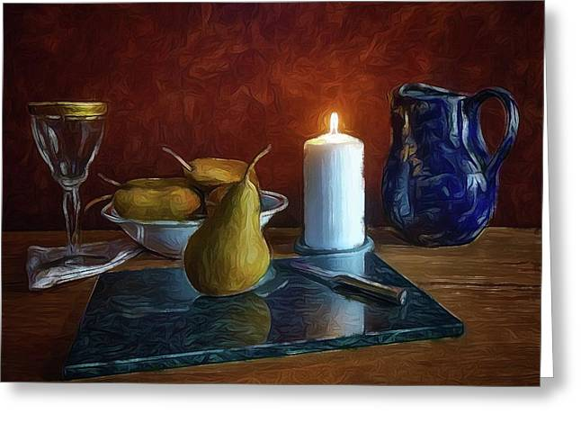 Greeting Card featuring the photograph Pears By Candlelight by Mark Fuller
