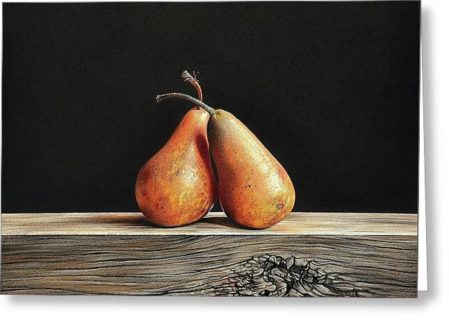 Pears Greeting Card by Elena Kolotusha