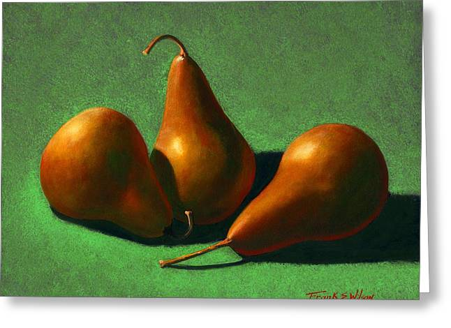 Greeting Card featuring the painting Pears by Frank Wilson