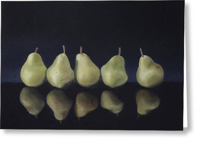 Pears In Black Greeting Card