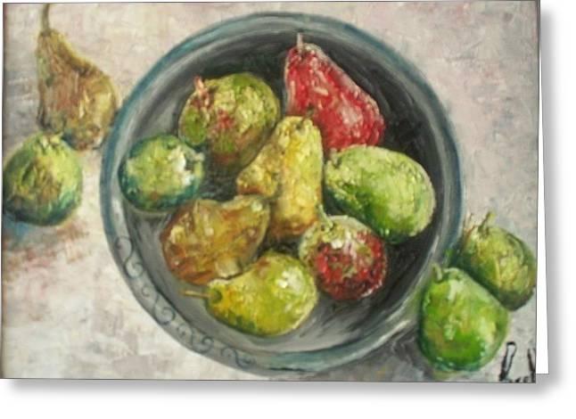 Pears In Bowl Greeting Card by Carol P Kingsley
